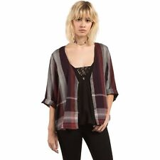 2017 NWT WOMENS VOLCOM WELL PLAID BUTTON UP THROW TOP $45 S plum 3/4 sleeves