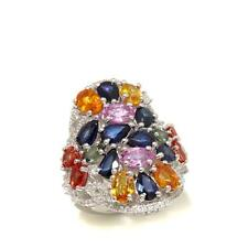 COLLEEN LOPEZ 10CTW MULTI SAPPHIRE & WHITE ZIRCON STERLING RING SIZE 7 HSN $499