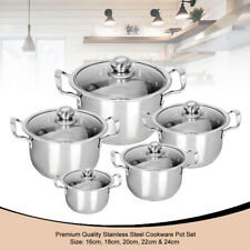 5PC Stainless Steel Kitchen Cookware Casserole Stockpot Pans Set With Glass Lids