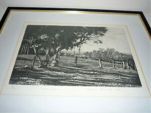 VINTAGE ETCHING BY AUSTRALIAN BARBARA BENNETT  TITLED OCEAN VIEW NUMBERED 9/20