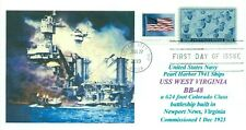 USS WEST VIRGINIA BB-48 Battleship Pearl Harbor 1941 Color Cachet, First Day PM
