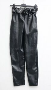BNWT PRETTYLITTLETHING Black Faux Leather Belted Skinny Trousers size UK 10