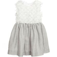 IL GUFO BABY GIRLS GREY LINEN AND ORGANZA DRESS 2 YEARS
