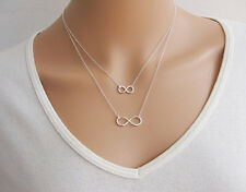 """SILVER DOUBLE LUCKY """"8"""" Pendant Charm Choker Collar beaded Chain Necklace ONE HS"""