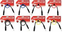 8 Rockville 1.5' Male REAN XLR to 1/4'' TRS Cable (4 Colors x 2 of Each)