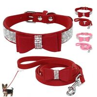 Rhinestone Small Dog Collar and Leash Soft Suede Bow for Pets Puppy Cat XXS-M