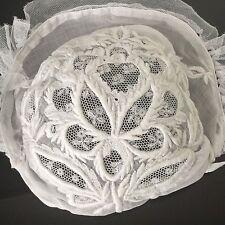 Bonnet Ancien En Dentelle Broderie Coiffe Antique French Lace Woman Bonnet