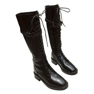 Women Lace Up Low Chunky Heel Knee High Knight Boots Buckle Zip Winter Shoes L