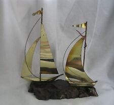Decorative  Yachts Sailboats - Metal Ships -  Nautical Decor on Wood stand