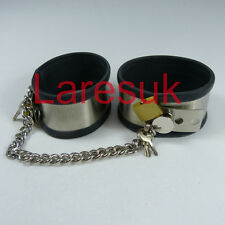 Locking steel ankle / wrist cuffs with rubber liner  (CU-06), FREE UK DELIVERY