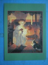 POSTCARD IS HE COMING (CHILDREN LOOKING UP FIREPLACE) NORMAN ROCKWELL