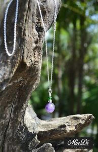Handmade necklace / pendant with Sterling Silver, Amethyst & Glass Beads.