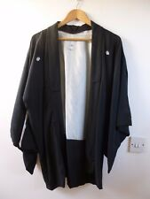vintage Japanese  HAORI lined black kimono gown/robe/jacket  one size