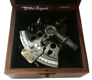 "SIMRAH Brass 4"" Sextant Telescope With Wooden Box For Home Decoration Replica"