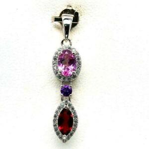 2.28ct Pink & White Topaz, Rhodolite Garnet & Amethyst Sterling Silver Pendant