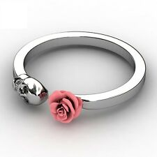 Dainty Sugar Skull Band Vintage Fun Red Rose Knuckle Rings for Women Engagement