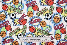 Game On! Baseball Basketball Soccer Football Toss Flannel Fabric   BTY (G2) +