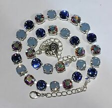 Cup Chain Necklace  Made W Genuine Swarovski Crystal Sapphire, Air Blue Opal, AB