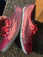 NEW Women's Pink And White Chevron Lace-Up KEDS Sz 10 M Slip On Shoes Sneakers