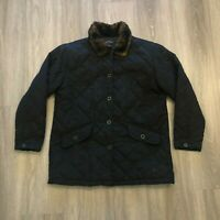 Charter Club Womens Petite Large Faux Fur Collar Quilted Button Jacket Black