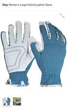 Digz Women's Medium Hybrid Leather Glove, Blue