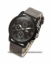 Softech Gents Black Dial Watch, Black Finish Case, Grey Markers, Grey Strap