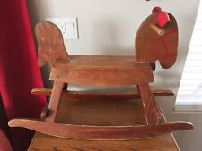 Antique Vintage Wood Kid Size Rocking Horse Painted Face, Faux Leather Ears 20.5