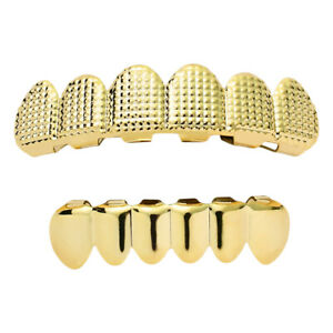 Hip Hop 6 Teeth Top Bottom Gold/Silver Fake Mouth Grills Halloween Costume