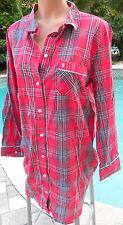 Victorias Secret coverup sleep shirt top L red plaid long sleeve cotton modal