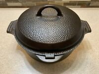 Vintage Griswold #8 Hammered Cast Iron Dutch Oven 2058 w/ Hinged Lid Restored