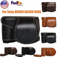 Leather Camera Bag Case Cover Pouch For Sony A6000 A6300 NEX6 With Strap