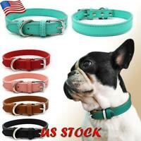 New Dog Collar PU Leather Puppy Cat Leash Rope Decors Adjustable Pet Supplies US