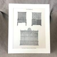Thomas Chippendale Library Bookcase Antique Print Furniture Design Art