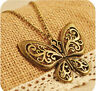 Women Retro Bronze Hollow Butterfly Pendant Sweater Long Chain Necklace Jewelry