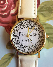 White Faux Leather Strap Kitten Women Wrist Watch Ladies Xmas Cat Animal Cute