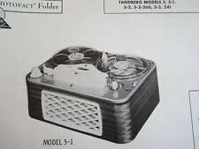 TANDBERG 5, 5-1, 5-2, 5-2-266, 5-3, & 241 REEL to REEL TAPE RECORDER PHOTOFACT