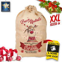 SACCO DI NATALE IN JUTA XXL SACCO BABBO NATALE IDEA REGALO 102 cm X 58 cm!!!!