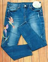 Women's Sz 12 R1893 High Rise Skinny Cropped Jeans Embroirdered Birds Med Wash