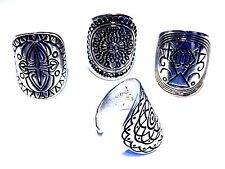SET 4 MANDALA DISC RINGS silver tone geometric statement boho gypsy lot sz 9 U6