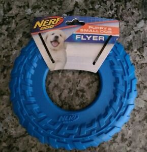 """Nerf Small 8"""" Dog or Puppy blue Rubber Tire Atomic Flyer Toy Frisbee  Durable"""