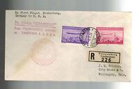 1936 Liechtenstein Hindenburg Zeppelin register cover to USA # C15 C 16  LZ 129