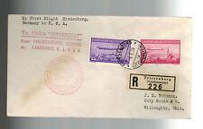 1936 Liechtenstein Hindenburg Zeppelin Registrazione Cover Agli USA #C15 C 16 Lz