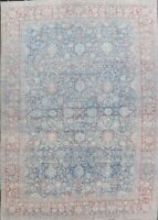 Pre-1900 Antique All-Over Vegetable Dye Muted Blue Sultanabad Oushak Rug 10'x14'