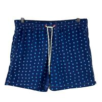 Gazman Mens Swim Shorts Size Medium Blue Polka Dot Elastic Waist Drawstring