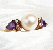 New Amethyst Pearl Diamond Ring 9 ct Gold Engagement Christmas Birthday Small
