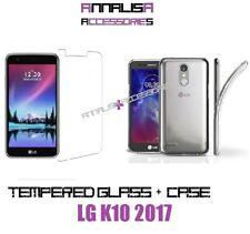 FUNDA COVER + PELÍCULA VIDRIO TEMPLADO PARA LG K10 2017 CASE + TEMPLADO VIDRIO