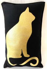 Cat Pillow 8 x 13 Black Gold Metallic Home Room Sofa Decor Rectangle Square Gift