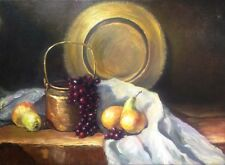 VINTAGE ORIGINAL REALISTIC STILL LIFE OIL PAINTING ON CANVAS, COPPER POT, FRUITS
