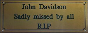 QUALITY 5 x 2 Plaque Plate Sign Engraved Gold With Black Text
