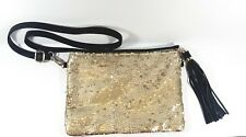 Bam Forever Gold Sequin Clutch Crossbody Bag with Tassel (C12)
